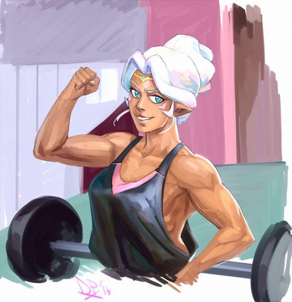 【見ろやこの筋肉!!】力こぶを自慢する女の子達の二次エロ画像【カッチカチやぞ!!】【15】
