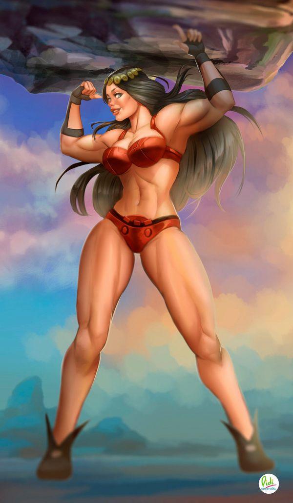 【見ろやこの筋肉!!】力こぶを自慢する女の子達の二次エロ画像【カッチカチやぞ!!】【36】