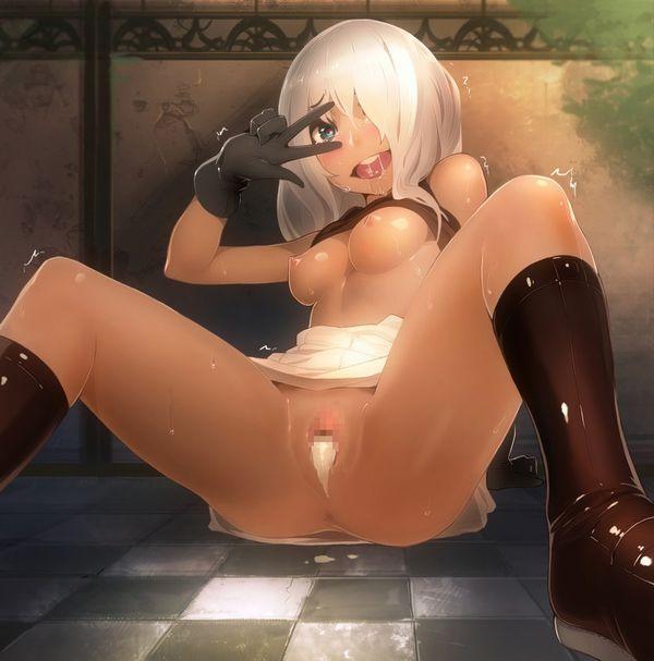 【かしこまっ! 】目の上でピースする例のポーズを(裸で)している二次エロ画像【37】