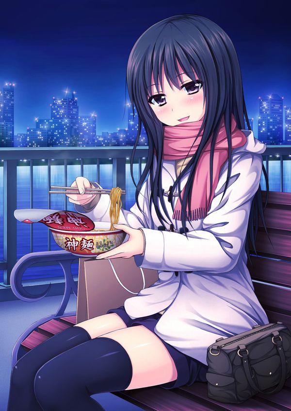 【お昼ご飯の定番】カップラーメン食べてる女子達のエロ画像【15】