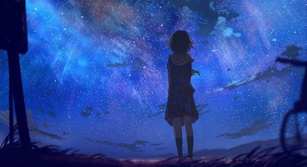 【starrysky】星空と女の子の幻想的な二次画像【IKUZO要素は無い】【4】