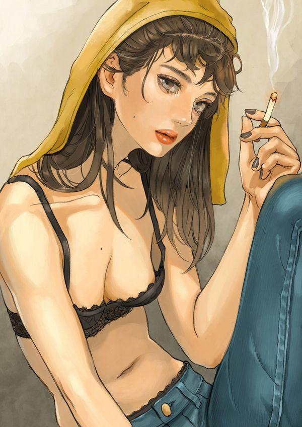 【悲報】とうとうタバコが500円超えるらしいので・・・タバコ吸ってる女子の二次画像【3】