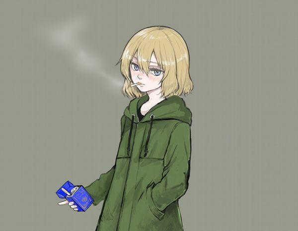 【悲報】とうとうタバコが500円超えるらしいので・・・タバコ吸ってる女子の二次画像【36】