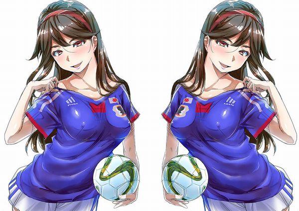 【祝!日本勝利】サッカー日本代表ユニフォームを着た女子達の二次画像【23】