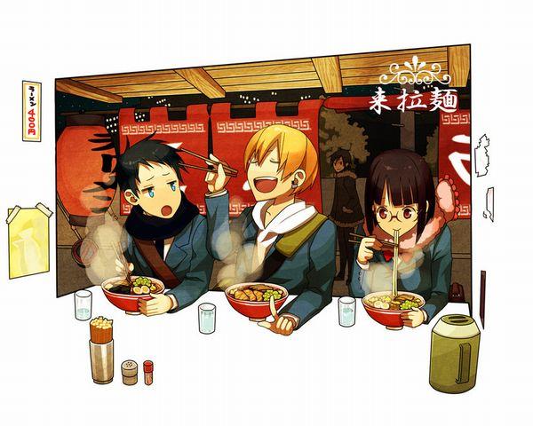 【所謂中華そば】昔懐かしい感じの醤油ラーメンを食べてる女の子達の二次画像【15】