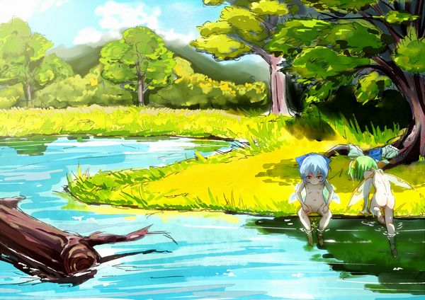 【近所だから】全裸で川遊びしてる女の子達の二次エロ画像【39】