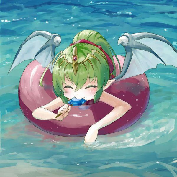 【カナヅチだから】浮き輪にのってプカプカ浮いてる女子達の二次画像【35】