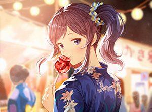 【夏祭りの定番】りんご飴食べてる浴衣姿な女の子達の二次画像