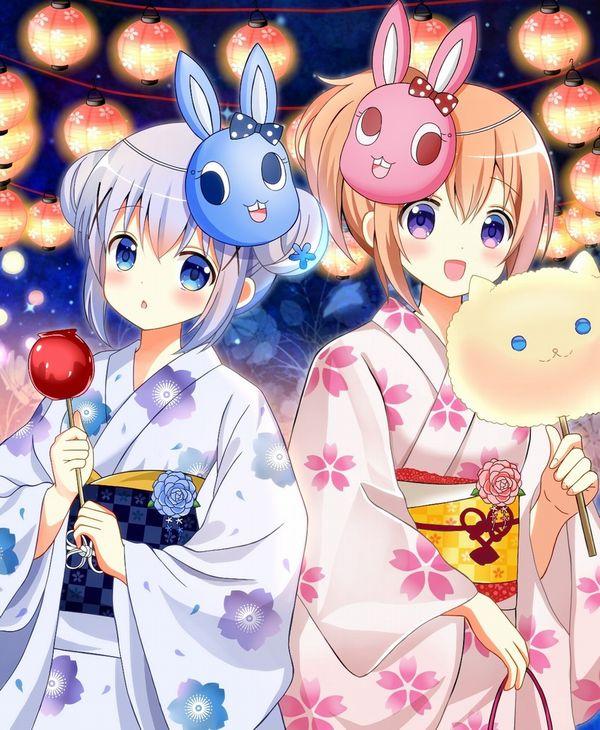 【夏祭りの定番】りんご飴食べてる浴衣姿な女の子達の二次画像【15】