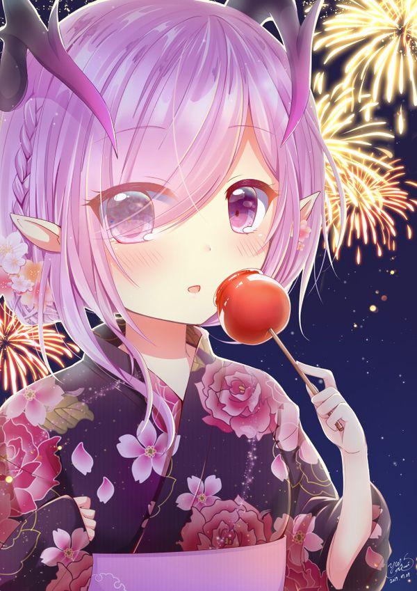 【夏祭りの定番】りんご飴食べてる浴衣姿な女の子達の二次画像【16】