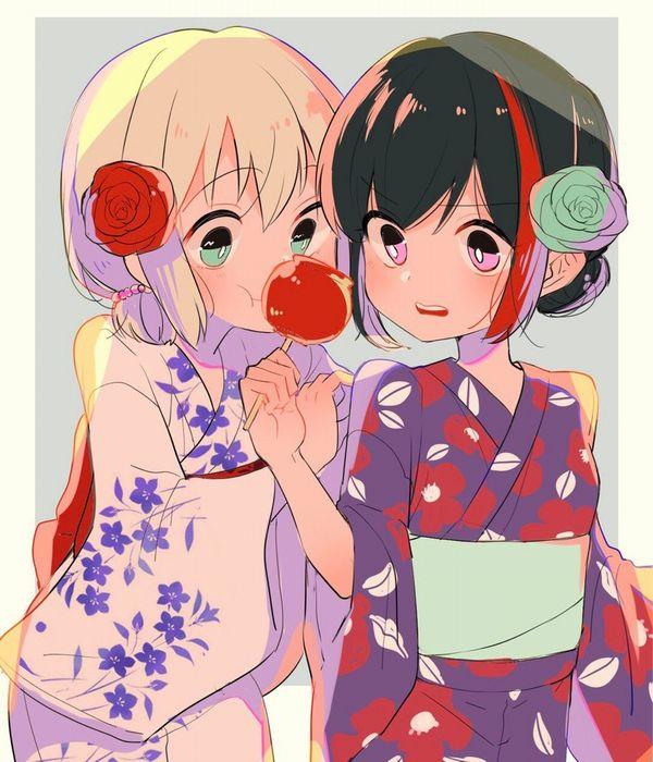 【夏祭りの定番】りんご飴食べてる浴衣姿な女の子達の二次画像【24】