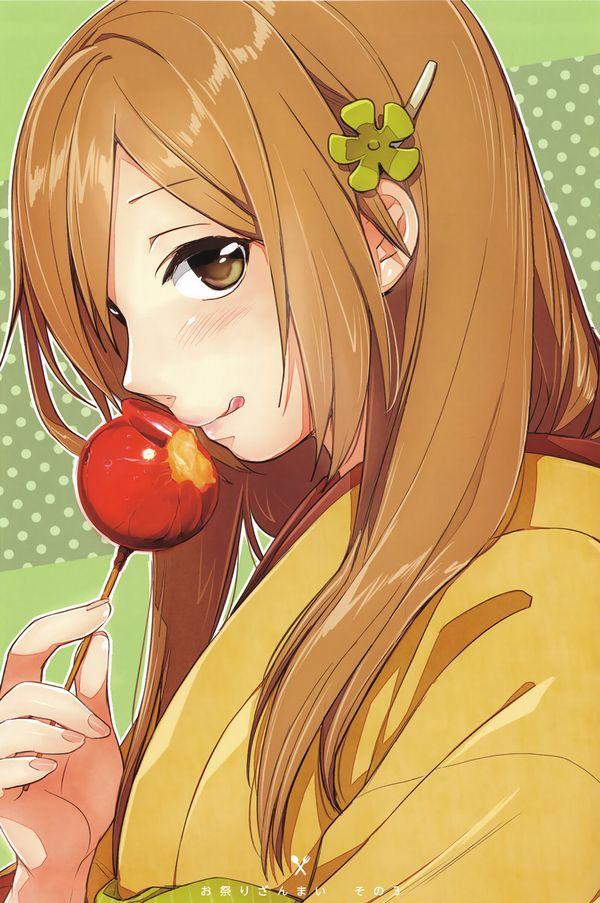 【夏祭りの定番】りんご飴食べてる浴衣姿な女の子達の二次画像【27】