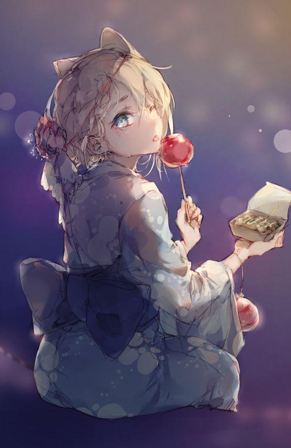 【夏祭りの定番】りんご飴食べてる浴衣姿な女の子達の二次画像【29】