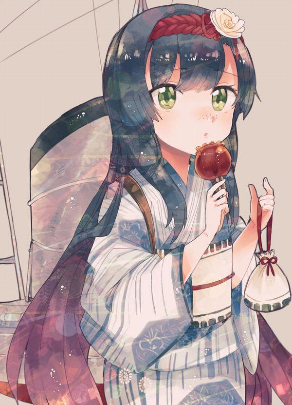 【夏祭りの定番】りんご飴食べてる浴衣姿な女の子達の二次画像【33】