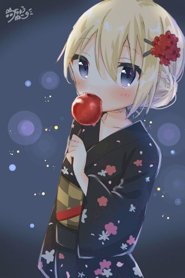 【夏祭りの定番】りんご飴食べてる浴衣姿な女の子達の二次画像【37】