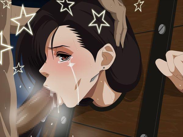 【フェラチオ強要】無理矢理チンポ舐めさせられ号泣する女子達の二次エロ画像【22】