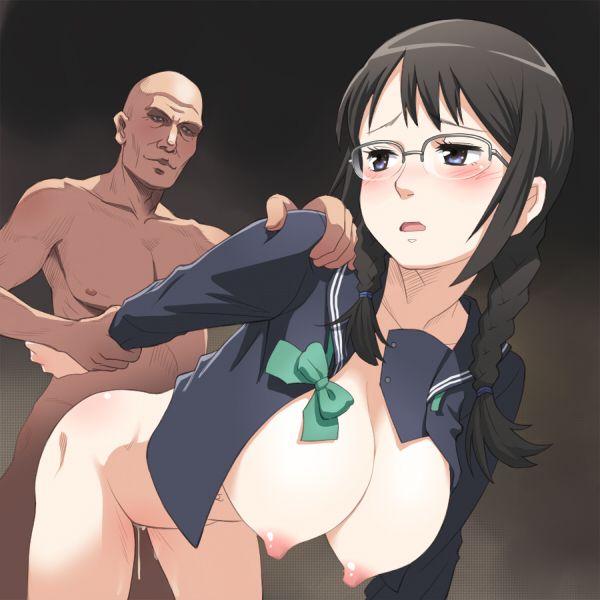 【校則違反】黒髪三つ編みメガネJKがセックスとかしてる二次エロ画像【3】