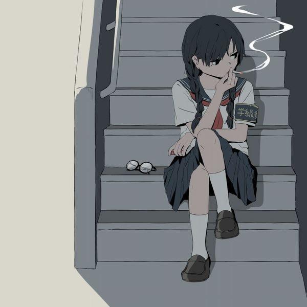 【校則違反】黒髪三つ編みメガネJKがセックスとかしてる二次エロ画像【40】