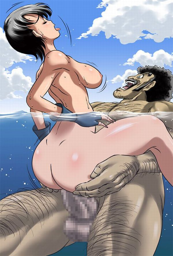 【南国の日常】海に漬かりながら青姦してるカップルの二次エロ画像【23】