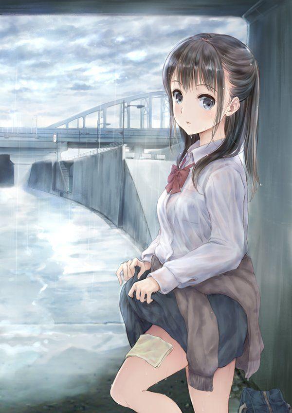 【突然の熱い夕立に】雨宿りしてる透けブラ女子高生の二次エロ画像【17】