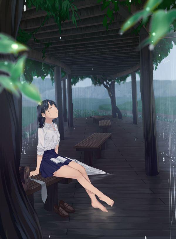 【突然の熱い夕立に】雨宿りしてる透けブラ女子高生の二次エロ画像【30】