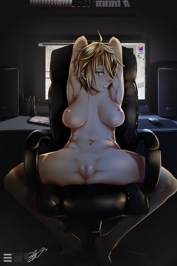 【夏はガチでこういう子居そう】全裸でPC前に居る女子達の二次エロ画像【35】