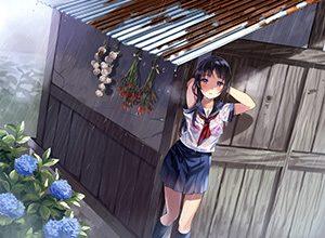 【突然の熱い夕立に】雨宿りしてる透けブラ女子高生の二次エロ画像