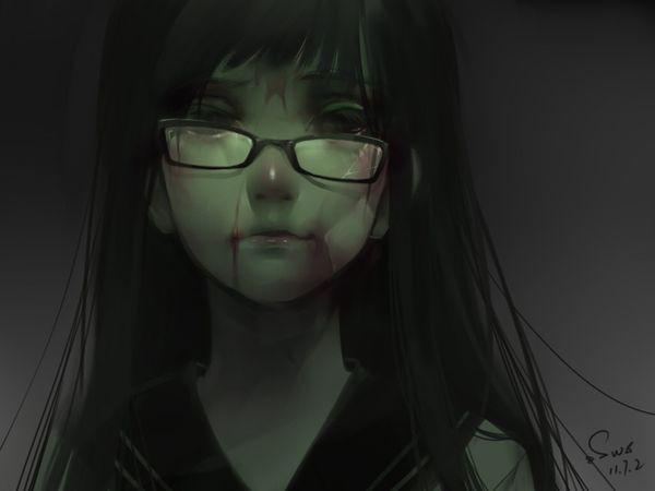 【昭和の漫画的表現】壊れたメガネをかけてる女子達の二次画像【1】