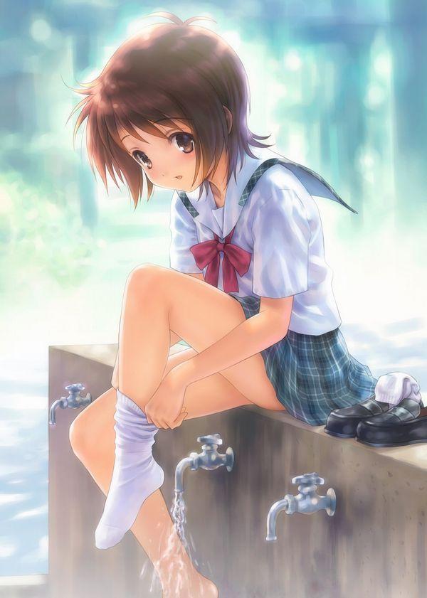 【多分みんなある程度臭い】ローファーや上履きを脱いで靴下状態になった女子高生の二次エロ画像【32】