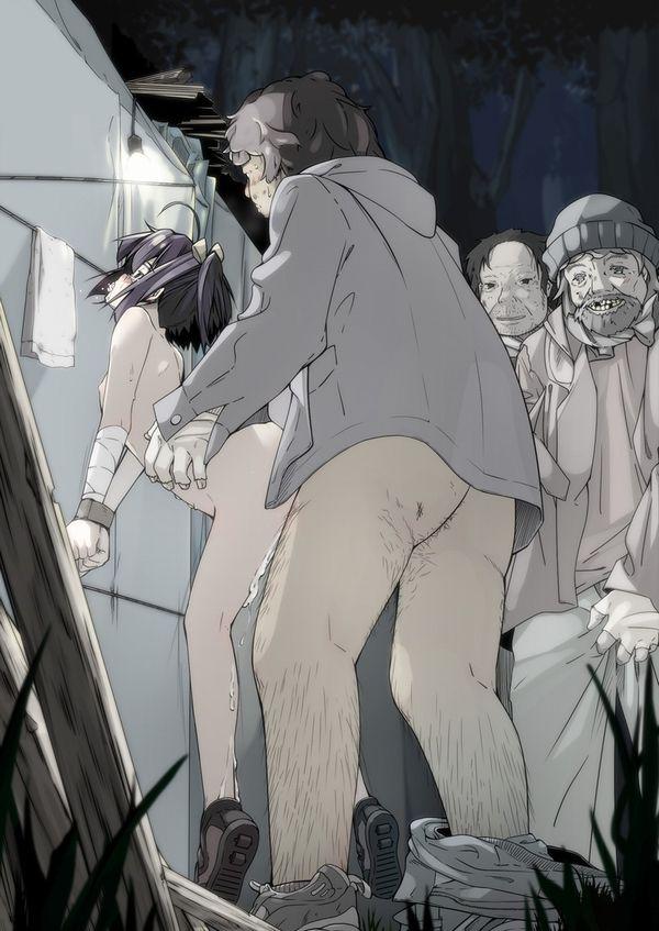 【簡易ギャグ】履いてたパンツを口に押し込まれ犯される女達の二次エロ画像【3】