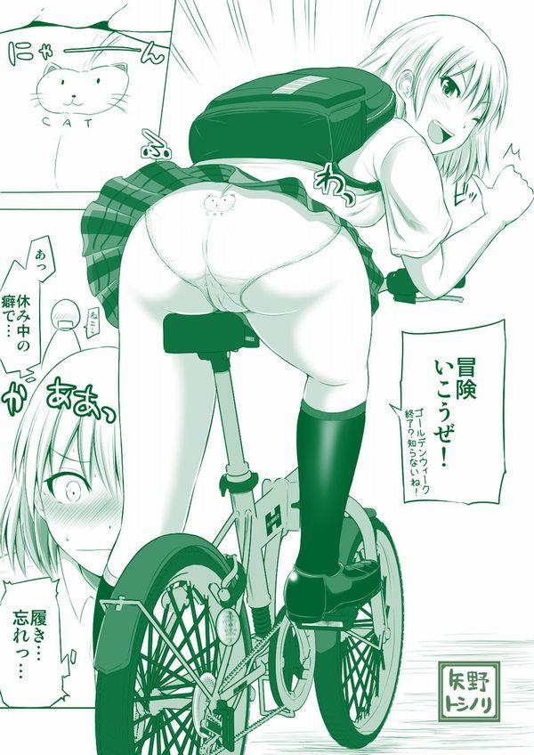【二次】登下校中な女子高生達の自転車パンチラ画像【11】