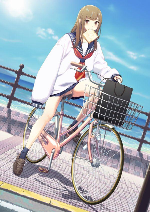 【二次】登下校中な女子高生達の自転車パンチラ画像【13】