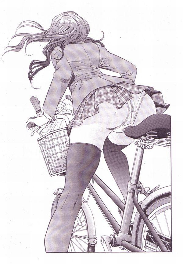 【二次】登下校中な女子高生達の自転車パンチラ画像【19】