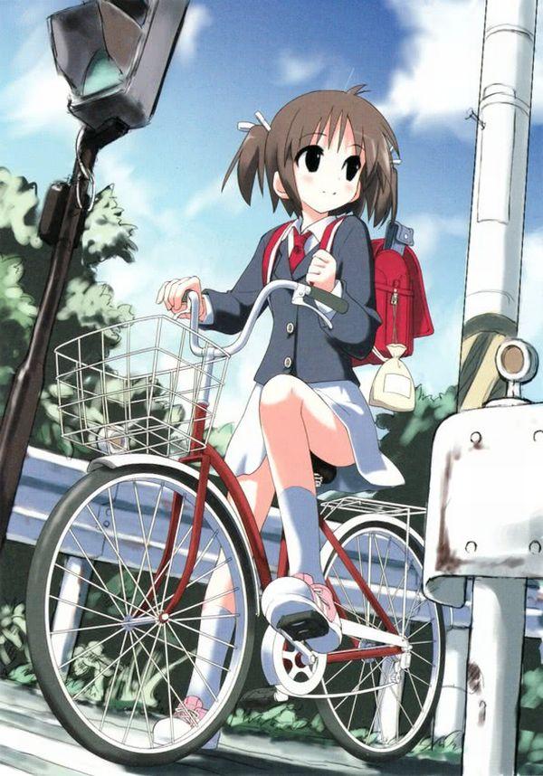 【二次】登下校中な女子高生達の自転車パンチラ画像【23】