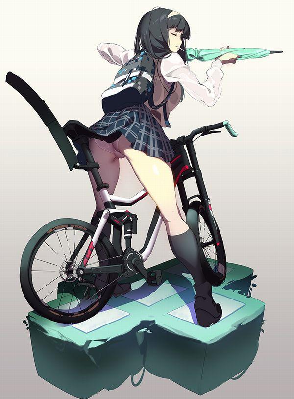 【二次】登下校中な女子高生達の自転車パンチラ画像【30】