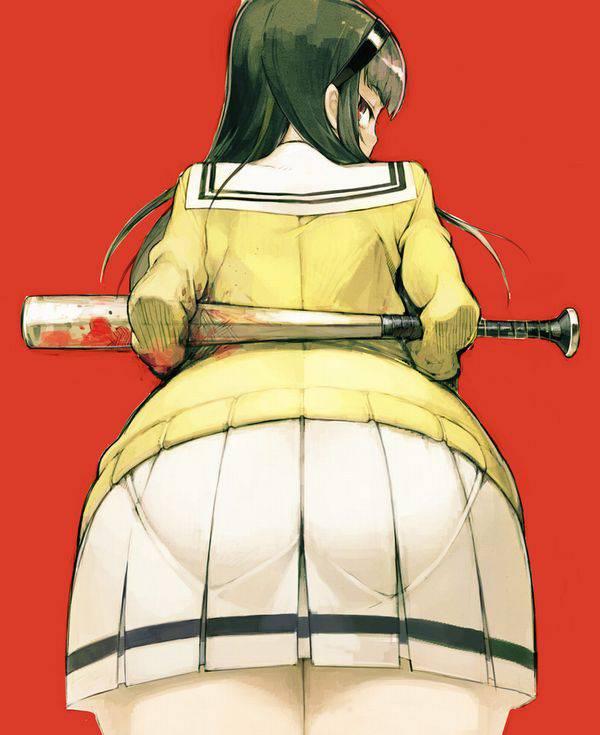 【野球経験は無さそう】女の子が血塗れのバットを持っている二次リョナ画像【24】