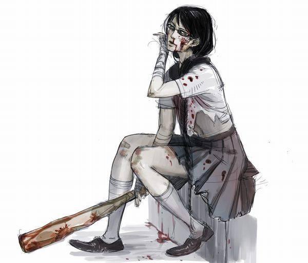 【野球経験は無さそう】女の子が血塗れのバットを持っている二次リョナ画像【38】