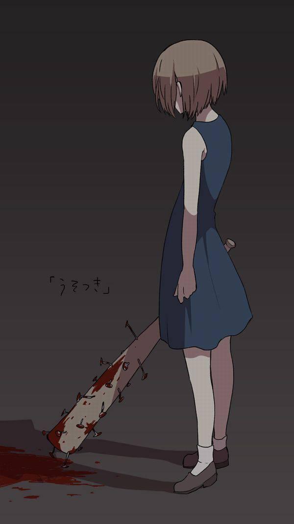 【野球経験は無さそう】女の子が血塗れのバットを持っている二次リョナ画像【40】