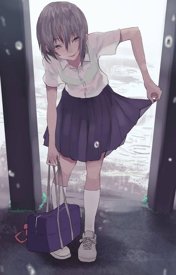 【濡れちゃった】傘を忘れたJK達の二次エロ画像【30】