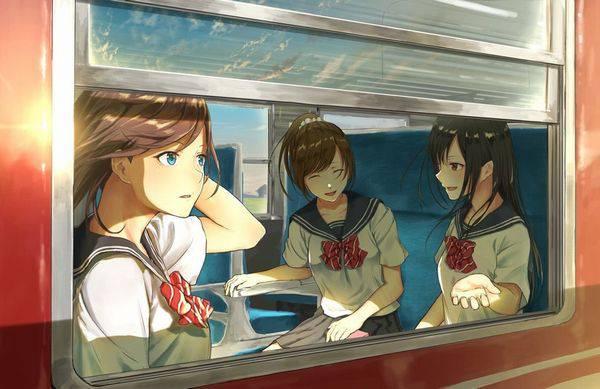 【日常の風景】電車に乗る女子達の二次画像【2】