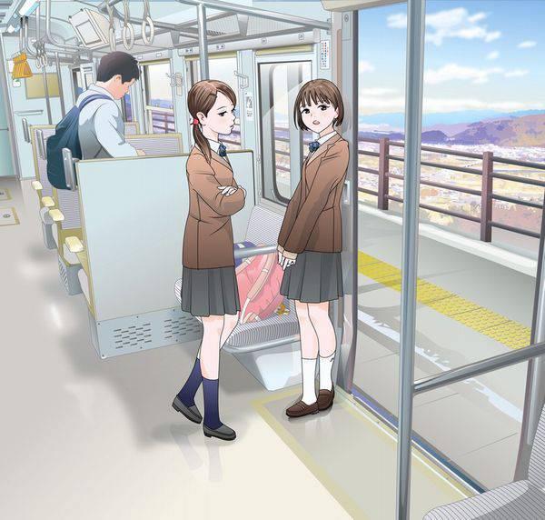 【日常の風景】電車に乗る女子達の二次画像【17】