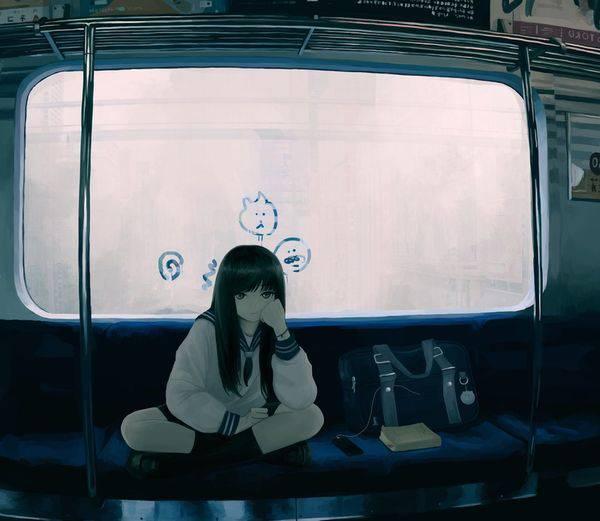 【日常の風景】電車に乗る女子達の二次画像【20】