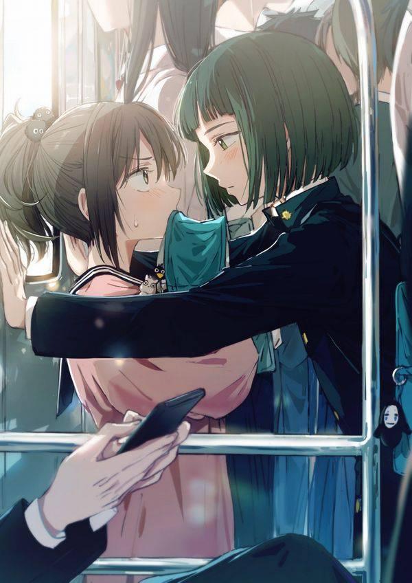 【日常の風景】電車に乗る女子達の二次画像【29】