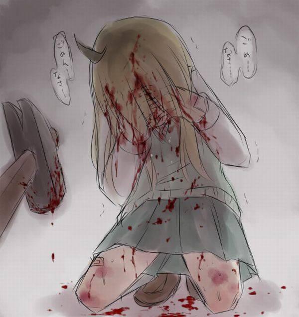 【ドンドンドン鈍器♪】物で殴られる女子達の二次リョナ画像【11】