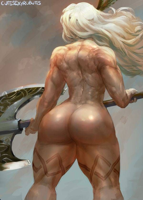 【まるで彫刻のよう】全裸筋肉質女子の二次エロ画像【30】