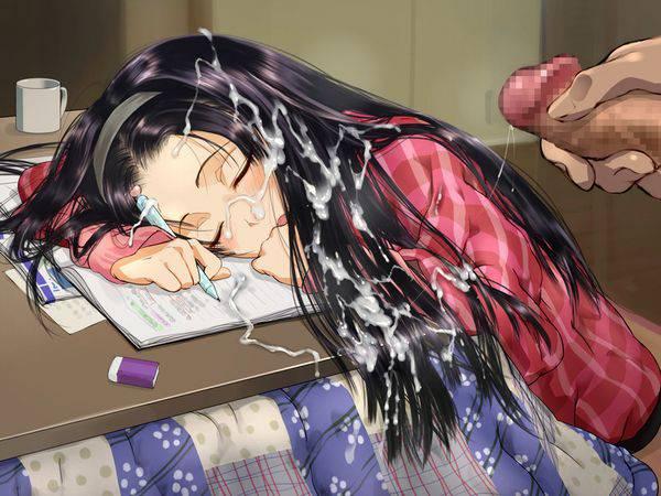 【寝起きどっきり】寝てる女の子にこっそり顔射してる二次エロ画像【2】