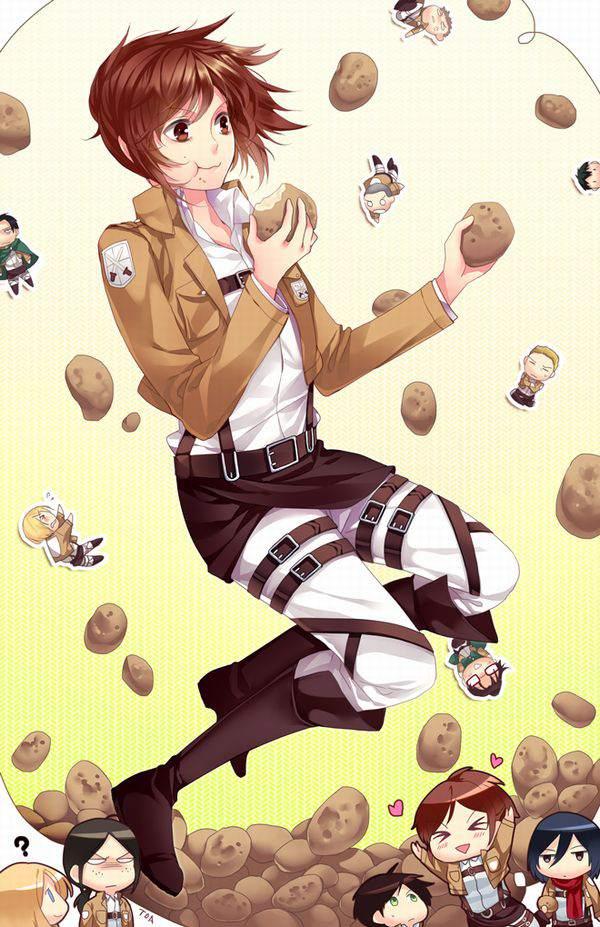 【進撃の巨人】サシャ・ブラウスのエロ画像と、芋とか食ってる画像【36】