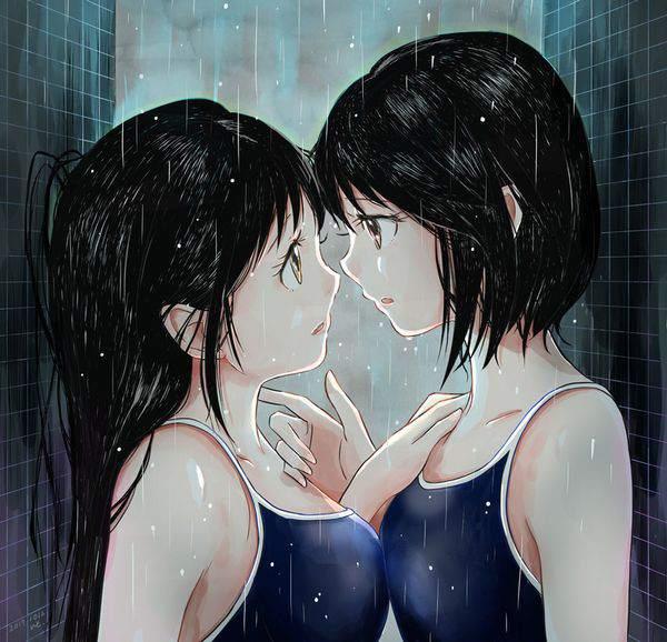 【傘が無い】雨に打たれる女子達の二次エロ画像【14】