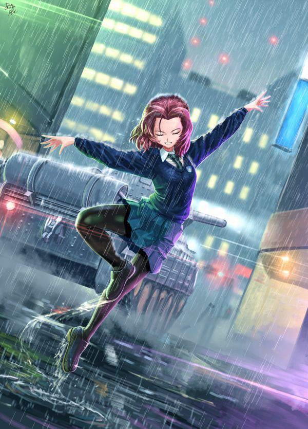 【傘が無い】雨に打たれる女子達の二次エロ画像【15】
