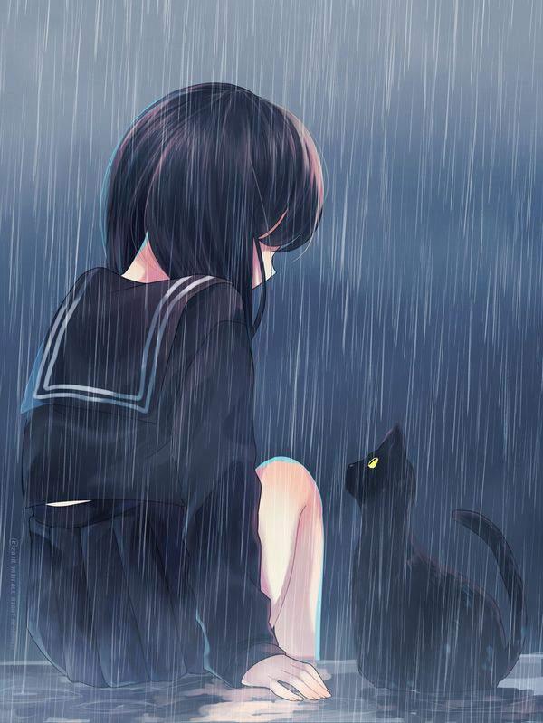 【傘が無い】雨に打たれる女子達の二次エロ画像【32】
